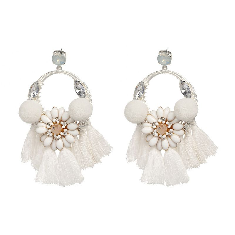 Cloth Bohemia Flowers earring  white NHJJ5176white
