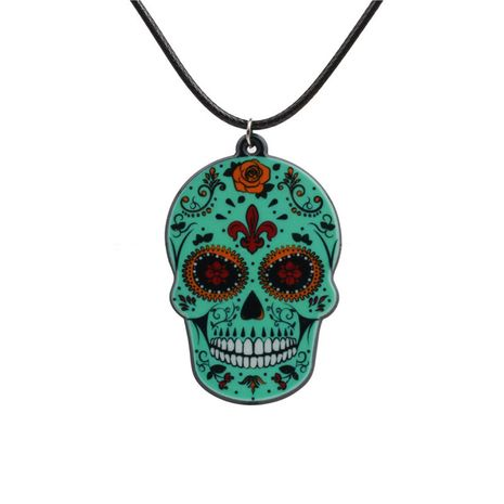Acrylic Fashion Skeleton Skull necklace  (green) NHYL0266-green's discount tags