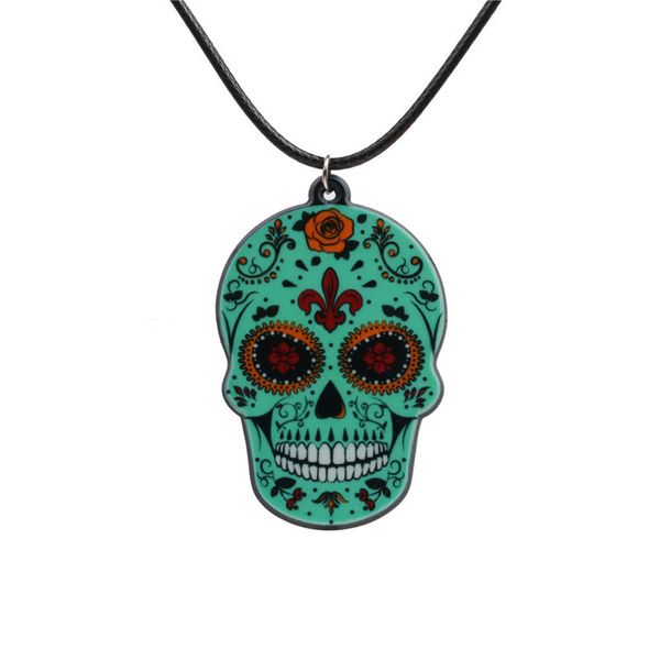 Acrylic Fashion Skeleton Skull necklace  (green) NHYL0266-green
