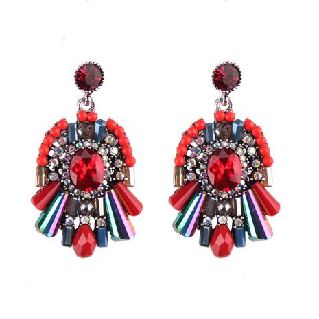 Imitated crystal&CZ Fashion Geometric earring  (red) NHJQ10771-red's discount tags