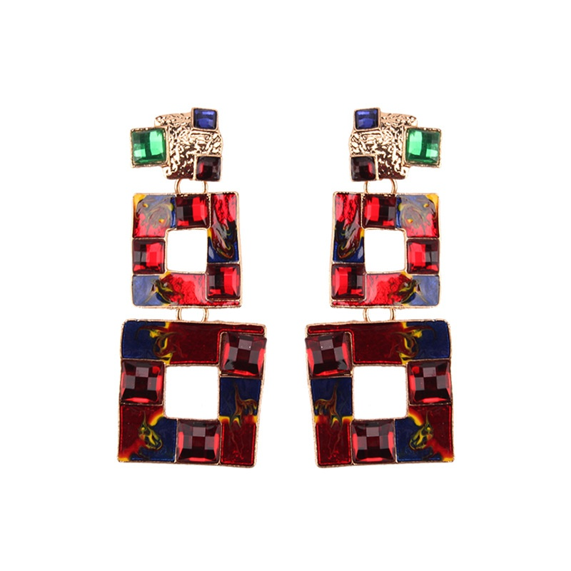 Alloy Fashion Geometric earring  (red) NHJQ10786-red