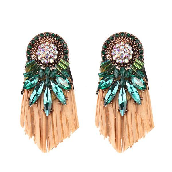 Imitated crystal&CZ Bohemia Geometric earring  (green) NHJQ10787-green