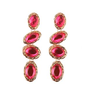 Imitated crystal&CZ Bohemia Geometric earring  (red) NHJQ10788-red's discount tags