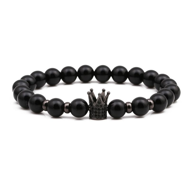 Natural Stone Fashion Geometric bracelet  (black) NHYL0329-black