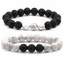 Pulsera geomtrica de moda de aleacin 3 pino blanco + piedras volcnicas NHYL03103pinoblancopiedrasvolcnicas