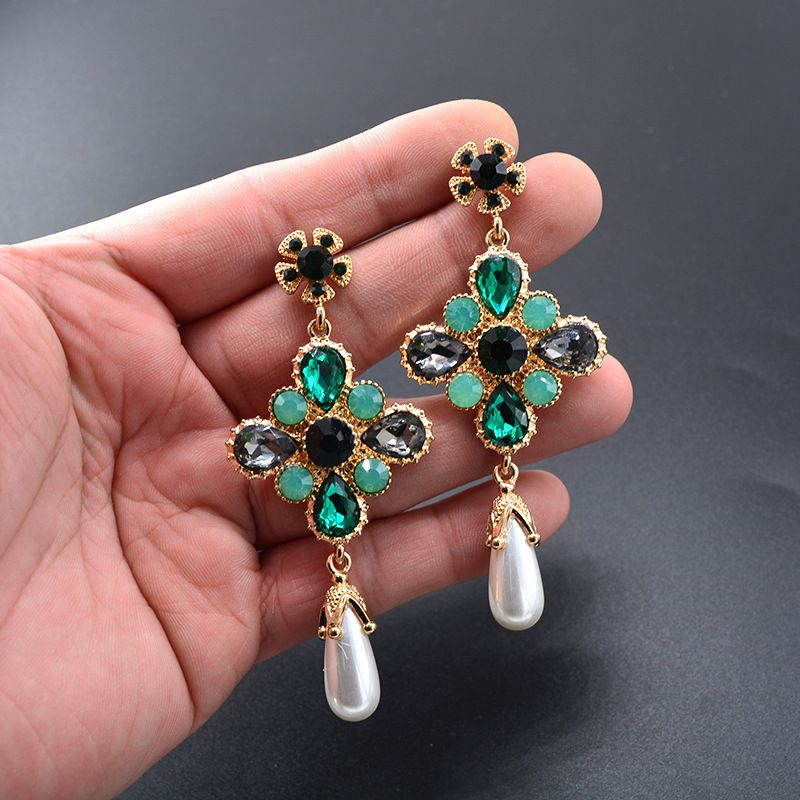 Alloy Fashion Geometric earring  (green)  Fashion Jewelry NHNT0730-green