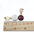 NHOM1318-Brown-round-925-silver-needle-stud-earrings
