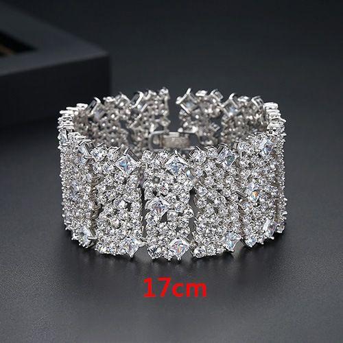 Alloy Fashion Geometric bracelet  (Platinum 17cm-T12F15)  Fashion Jewelry NHTM0632-Platinum-17cm-T12F15
