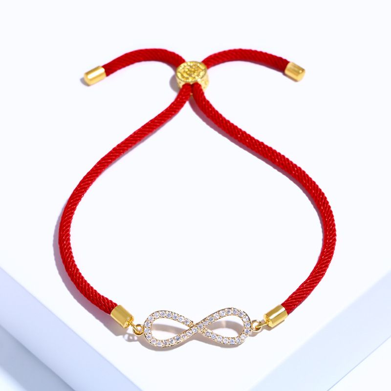 Copper Korea Geometric bracelet  (Red rope alloy)  Fine Jewelry NHAS0375-Red-rope-alloy