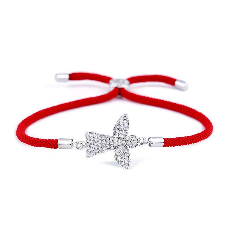 Copper Korea Geometric bracelet  Red rope angel  Fine Jewelry NHAS0374Redropeangel