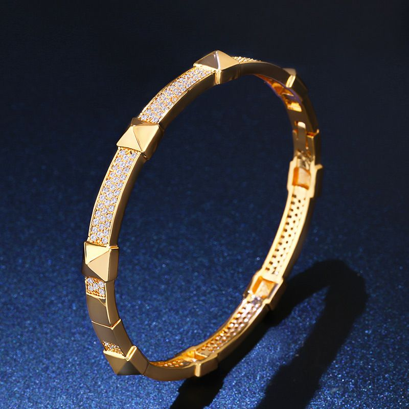 Copper Fashion Geometric bracelet  18K alloy  Fine Jewelry NHAS038518Kalloy