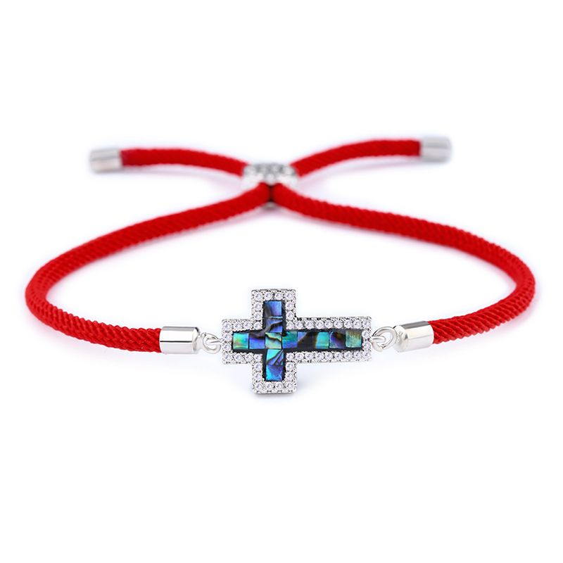Copper Korea Cross bracelet  (Red rope alloy)  Fine Jewelry NHAS0390-Red-rope-alloy