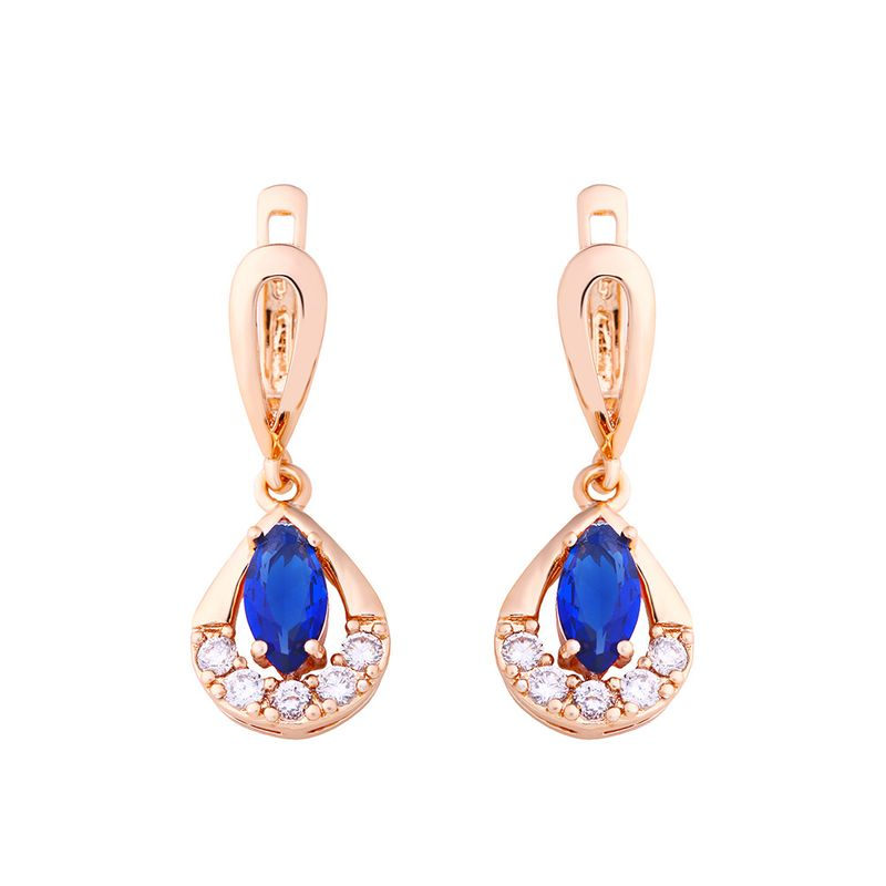 Copper Fashion Geometric earring  blue  Fine Jewelry NHAS0413blue