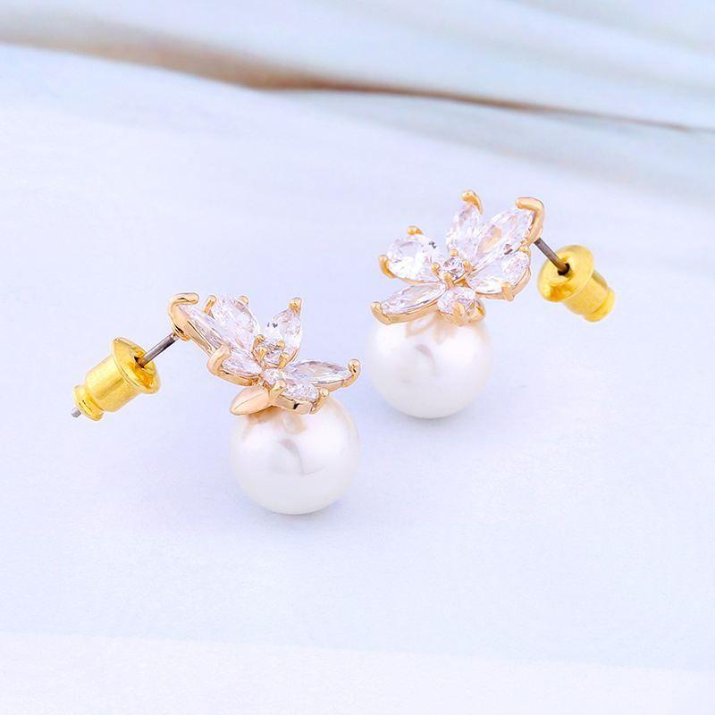 Imitated crystal&CZ Korea Flowers earring  (Alloy)  Fashion Jewelry NHAS0414-Alloy