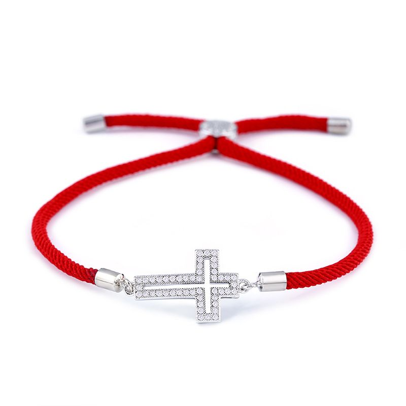 Copper Korea Cross bracelet  Red rope cross  Fine Jewelry NHAS0428Redropecross
