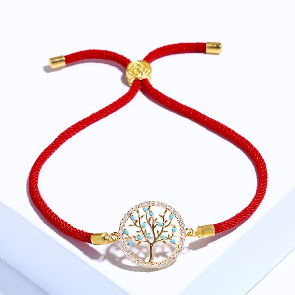 Copper Korea Geometric bracelet  (Red rope alloy)  Fine Jewelry NHAS0431-Red-rope-alloy
