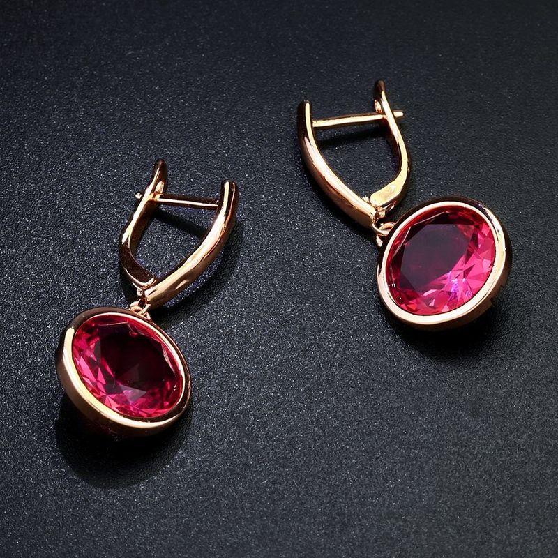 Imitated crystal&CZ Fashion Geometric earring  (red)  Fashion Jewelry NHAS0432-red