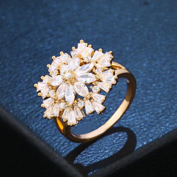 Copper Fashion Flowers Ring  (Alloy)  Fine Jewelry NHAS0441-Alloy