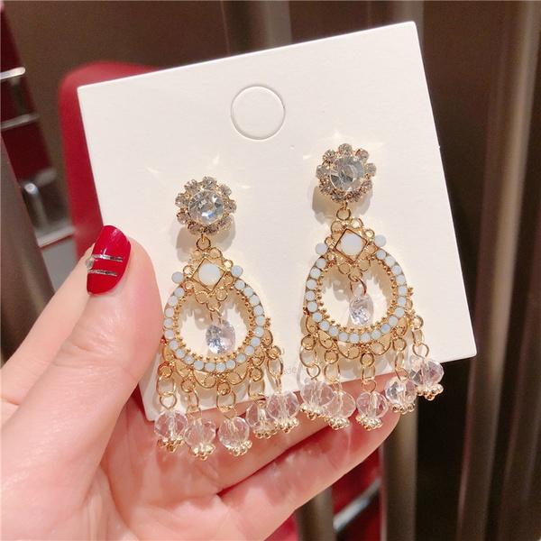 Alloy Korea Tassel earring  (Ring imitated crystal tassel)  Fashion Jewelry NHQG1517-Ring-imitated crystal-tassel