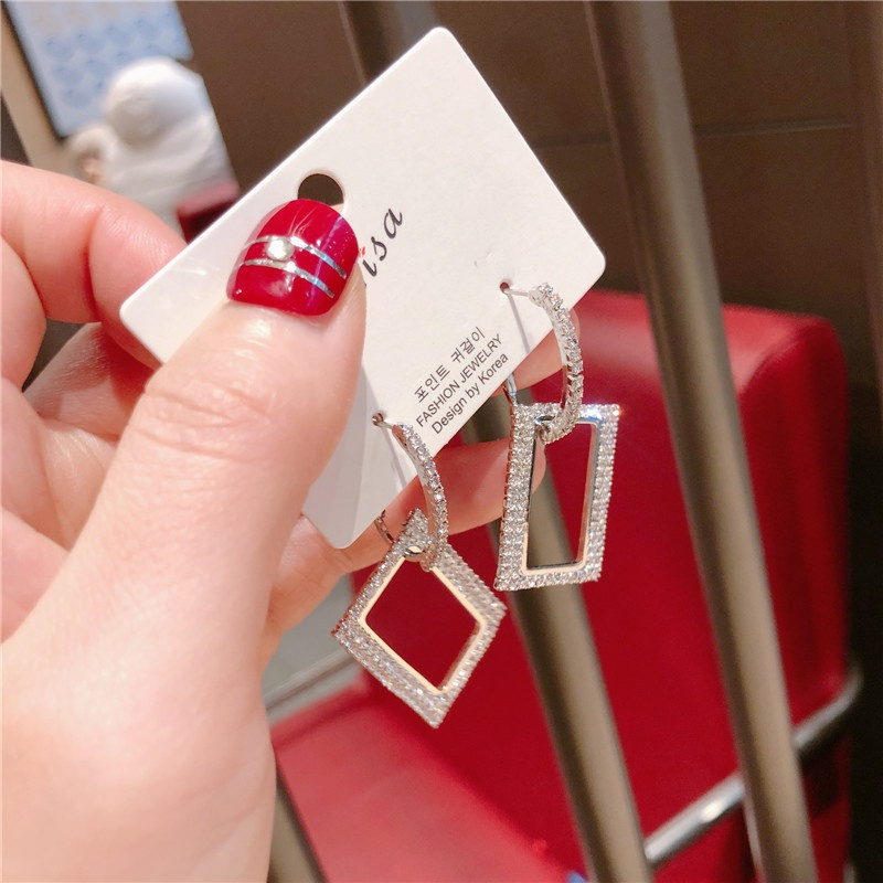 Alloy Korea Sweetheart earring  (Square alloy drill)  Fashion Jewelry NHQG1522-Square-alloy-drill
