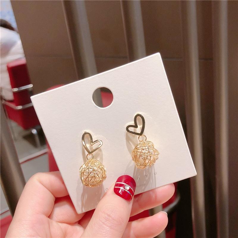 Alloy Korea Sweetheart earring  (Love alloy skein alloy needle)  Fashion Jewelry NHQG1523-Love-alloy-skein-alloy-needle