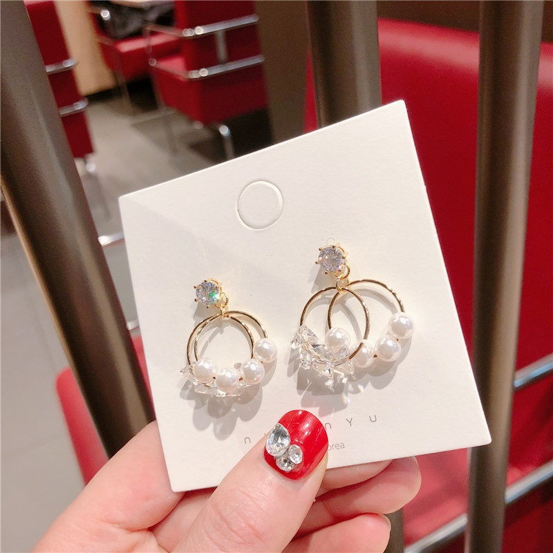Alloy Korea Bows earring  (Ring imitated crystal beads)  Fashion Jewelry NHQG1534-Ring-imitated crystal-beads