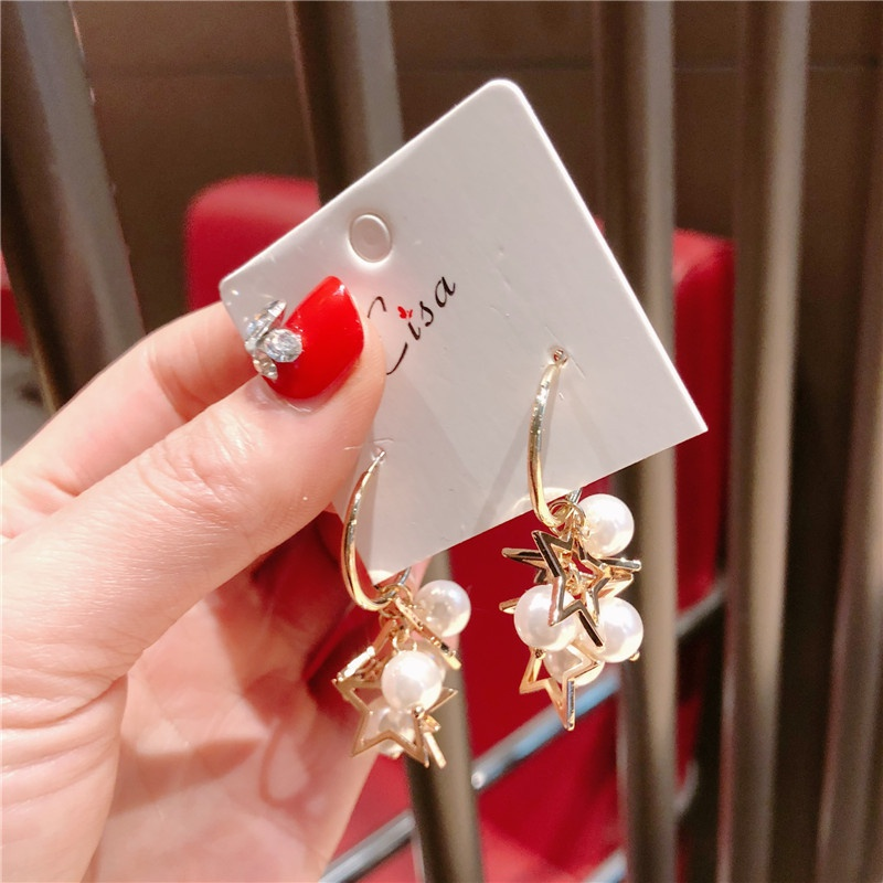 Alloy Korea Geometric earring  (Ring five-pointed star beads)  Fashion Jewelry NHQG1538-Ring-five-pointed-star-beads