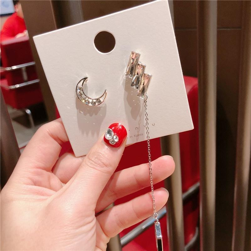 Alloy Korea Geometric earring  (Moon oblique square asymmetry)  Fashion Jewelry NHQG1539-Moon-oblique-square-asymmetry