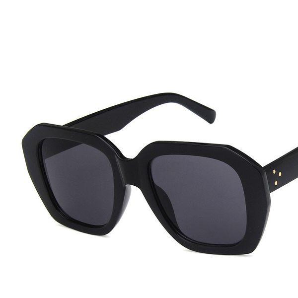 Plastic Fashion  glasses  (Bright black full gray piece)  Fashion Jewelry NHKD0628-Bright-black-full-gray-piece