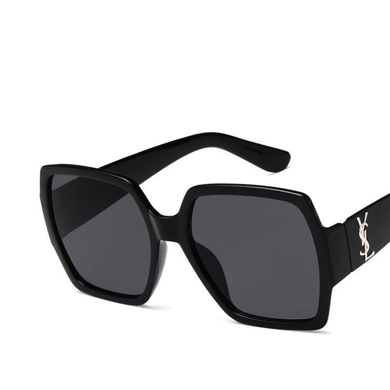 Plastic Fashion  glasses  (Bright black double gray piece)  Fashion Jewelry NHKD0660-Bright-black-double-gray-piece