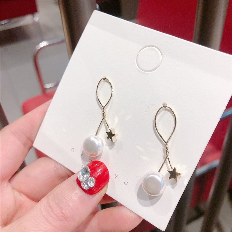Alloy Korea Geometric earring  (Knotted stars white beadss)  Fashion Jewelry NHQG1552-Knotted-stars-white-beadss