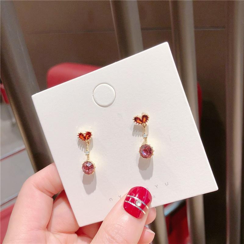 Alloy Korea Sweetheart earring  (Love little red rhinestone)  Fashion Jewelry NHQG1556-Love-little-red-rhinestone