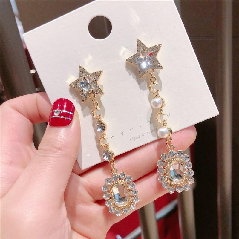 Alloy Korea Geometric earring  (Pentagram square white rhinestone)  Fashion Jewelry NHQG1557-Pentagram-square-white-rhinestone
