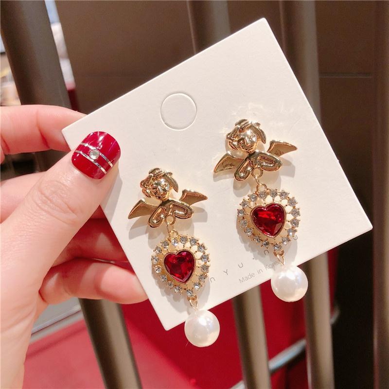 Alloy Korea Sweetheart earring  (Angel love)  Fashion Jewelry NHQG1561-Angel-love