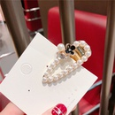 Alloy Korea Bows Hair accessories  White flower beads drop clip  Fashion Jewelry NHQG1558Whiteflowerbeadsdropclip