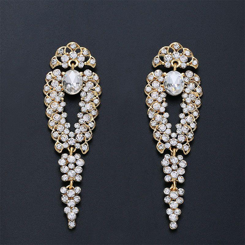 Imitated crystal&CZ Fashion Tassel earring  (Alloy)  Fashion Jewelry NHAS0470-Alloy