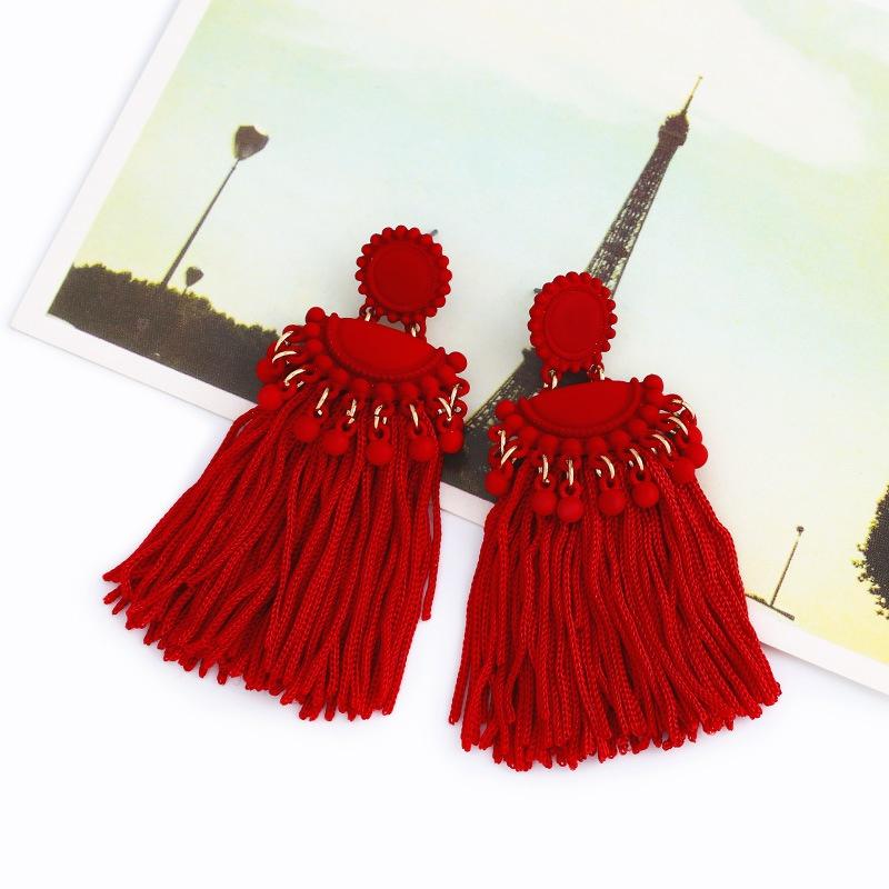 Cloth Fashion Tassel earring  (red)  Fashion Jewelry NHAS0475-red