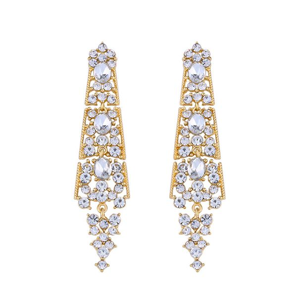 Imitated crystal&CZ Vintage Geometric earring  (Alloy)  Fashion Jewelry NHAS0480-Alloy