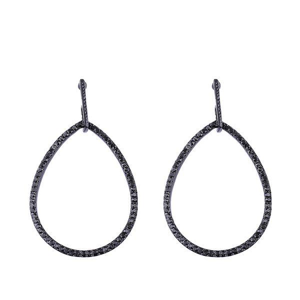 Imitated crystal&CZ Simple Geometric earring  (black)  Fashion Jewelry NHAS0489-black