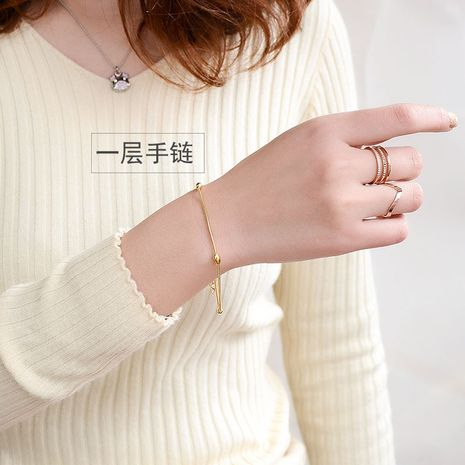 Titanium&Stainless Steel Korea Geometric bracelet  (Rose alloy layer)  Fine Jewelry NHOK0508-Rose-alloy-layer's discount tags