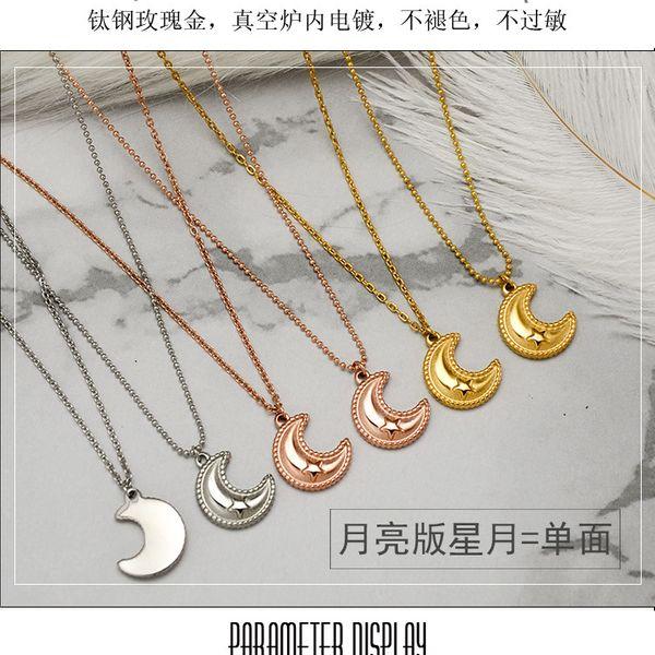 Titanium&Stainless Steel Korea Geometric necklace  (Moon Edition Star Moon Rose Alloy Cross)  Fine Jewelry NHOK0509-Moon-Edition-Star-Moon-Rose-Alloy-Cross