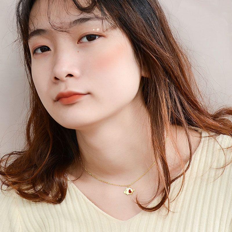 Titanium&Stainless Steel Korea Animal necklace  (P326 love pig / rose alloy 40+5cm)  Fine Jewelry NHOK0510-P326-love-pig-/-rose-alloy-40+5cm