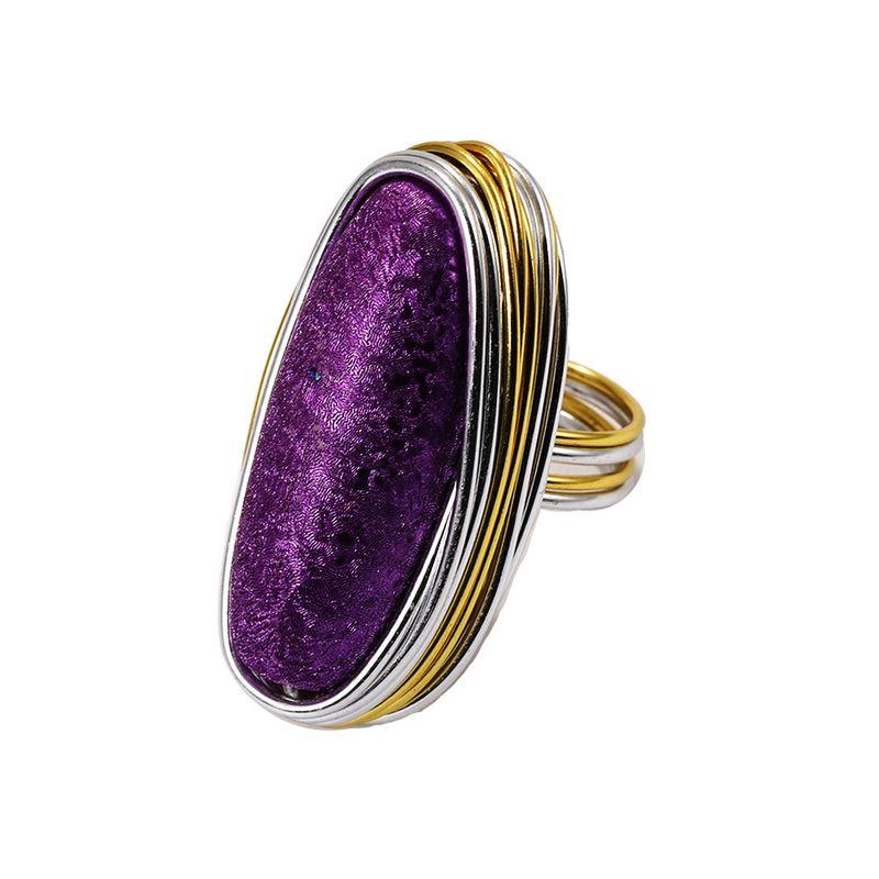 Alloy Fashion Geometric Ring  (Purple-7)  Fashion Jewelry NHJQ11259-Purple-7