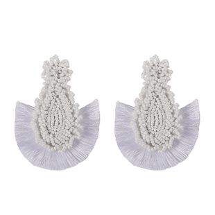 Alloy Bohemia Tassel earring  (white)  Fashion Jewelry NHJQ11267-white's discount tags