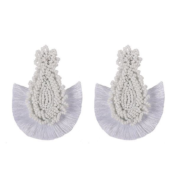 Alloy Bohemia Tassel earring  (white)  Fashion Jewelry NHJQ11267-white
