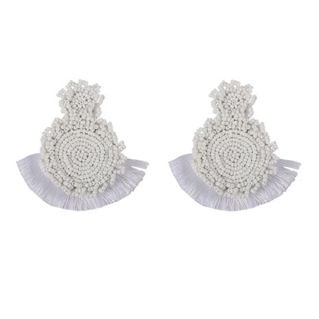 Alloy Bohemia Tassel earring  (white)  Fashion Jewelry NHJQ11268-white's discount tags