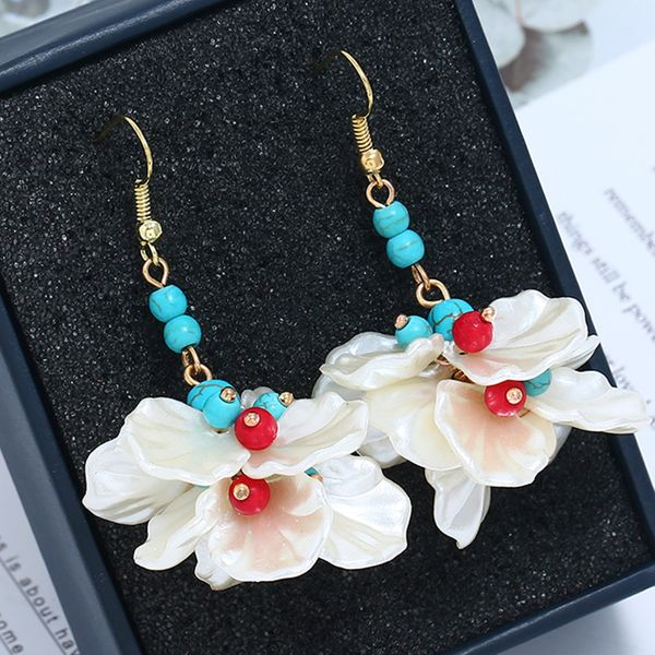 Plastic Fashion Flowers earring  (Colorful KC alloy)  Fashion Jewelry NHKQ2328-Colorful-KC-alloy
