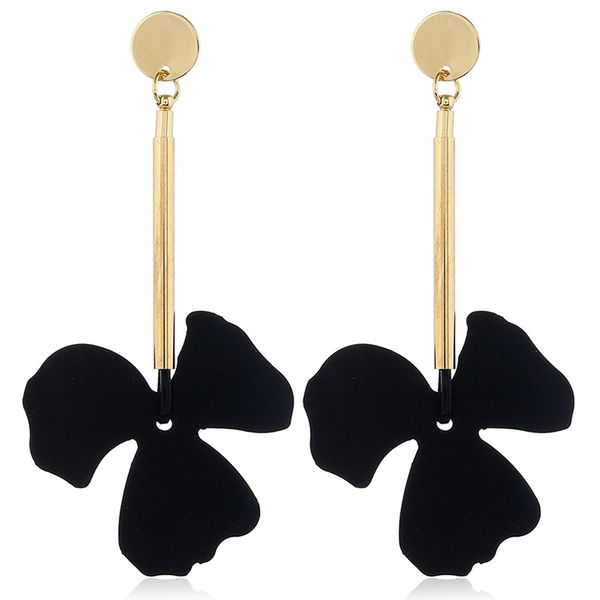 Alloy Fashion Flowers earring  (Black KC alloy)  Fashion Jewelry NHKQ2343-Black-KC-alloy