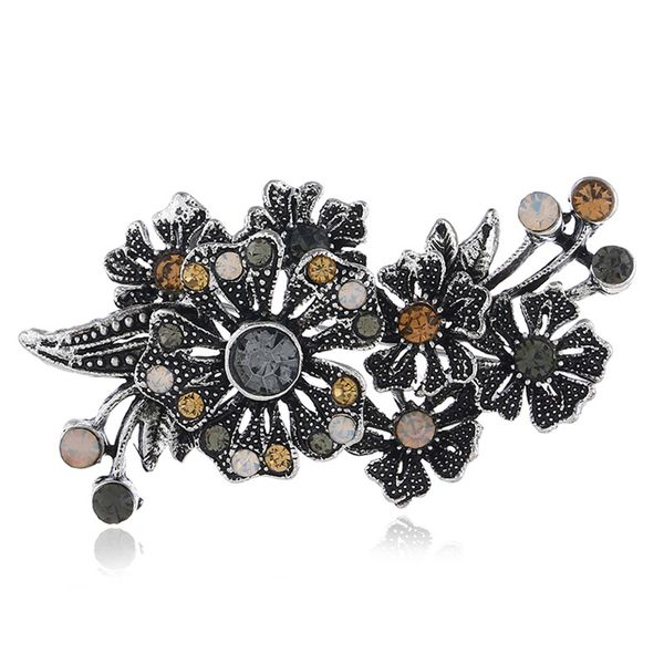 Alloy Vintage Flowers brooch  (Gray ancient alloy)  Fashion Jewelry NHKQ2348-Gray-ancient-alloy