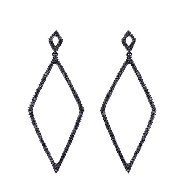 Imitated crystal&CZ Simple Geometric earring  (black)  Fashion Jewelry NHAS0506-black